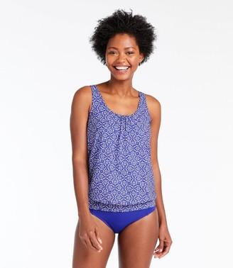 L.L. Bean L.L.Bean Women's Slimming Swimwear, Blouson Tankini Top Print