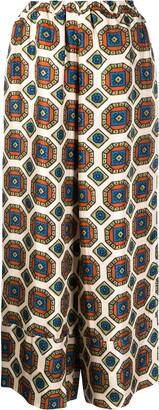 Pierre Louis Mascia Geometric-Print Silk Trousers