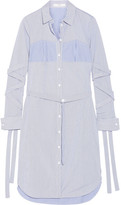 Tibi Striped Cotton-poplin Dress - Blue
