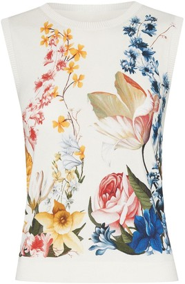 Oscar de la Renta Floral-Print Sleeveless Knitted Top