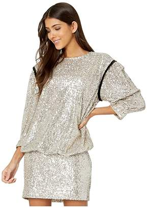 7 For All Mankind Long Sleeve Sequin Dress (Silver/Black Contrast) Women's Clothing