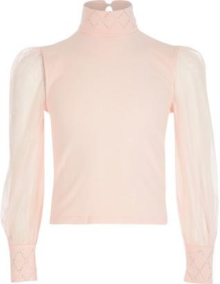 River Island Girls Pink mesh sleeve diamante top