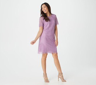 Isaac Mizrahi Live! Knit Lace Elbow Sleeve Swing Dress