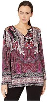 Tribal Bell Sleeve Blouse w/ Combo Yoke (Wildberry) Women's Clothing