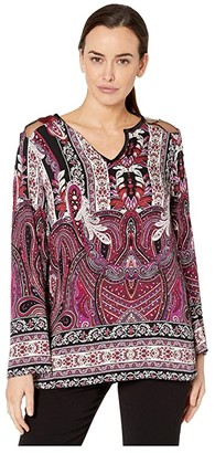 Tribal Bell Sleeve Blouse w/ Combo Yoke (Wildberry) Women's Clothing