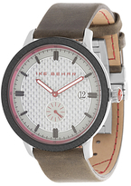 Ike Behar The Carbon Fiber Brushed Leather Watch, 43mm