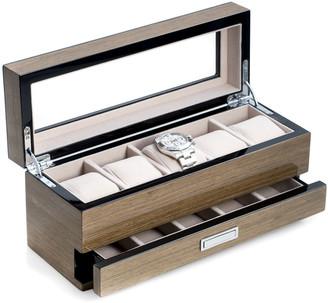 Bey-Berk Men's 5-Watch Lacquered Wood Storage Box