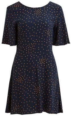 Vila Short-Sleeved V-Back Polka Dot Print Dress