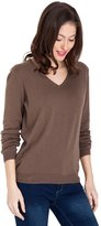 Wool Overs WoolOvers Womens Cashmere and Cotton V Neck Knitted Sweater , L