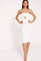 Missguided Crepe Cut Out Bandeau Midi Dress White