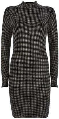 Mint Velvet Black Studded Knit Mini Dress