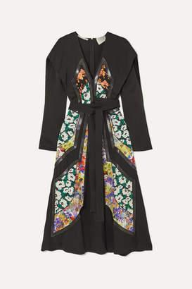 Stella McCartney Net Sustain Vegetarian Leather-trimmed Twill And Floral-print Silk Dress - Black