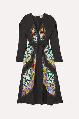 Stella McCartney Net Sustain Vegetarian Leather-trimmed Twill And Floral-print Silk Dress - Black