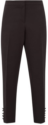 Burberry Hanover Buttoned Cuff Wool Crepe Tuxedo Trousers - Womens - Black White