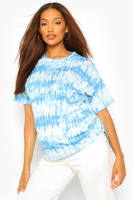 boohoo Maternity Tie Dye Ruched Side Tunic Top