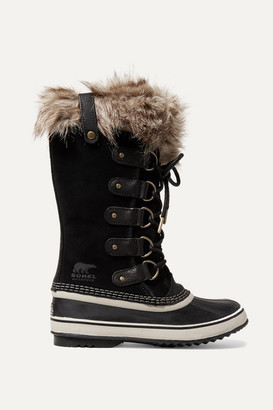 Sorel Joan Of Arctic Faux Fur-trimmed Waterproof Suede And Rubber Boots - Black