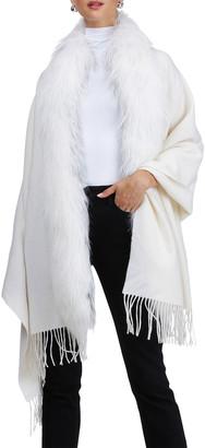 Burnett Cashmere Shawl with Fox Fur Trim