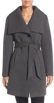 Laundry by Design Women's Belted Neoprene Wing Collar Coat