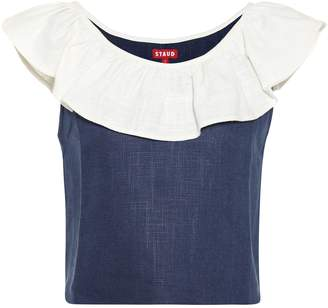 STAUD Anchor linen-blend top