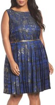 Tahari Plus Size Women's Metallic Jacquard Pleat Fit & Flare Dress