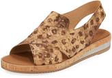 Sesto Meucci Sabita Comfort Cork-Print Leather Slingback Sandals