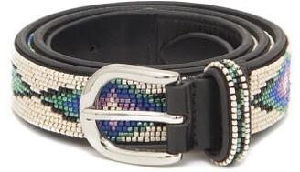Isabel Marant Elsa Beaded Leather Belt - Womens - Cream