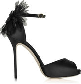 Olgana Paris La Coquette Black Satin and Organza Sandal