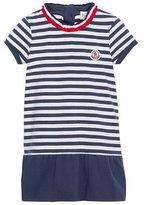 Moncler Short-Sleeve Striped Jersey Dress, Blue, Size 4-6