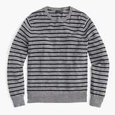 Tall Rugged Cotton Crewneck Sweater In Pewter Stripe