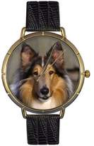Whimsical Watches Women's N0130004 Collie Black Leather And Goldtone Photo Watch