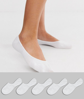 ASOS DESIGN 5 pack invisible socks with back grip band detail in white