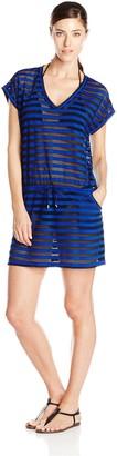 Calvin Klein Women's Crochet Drawstring Striped Tunic Cover Up