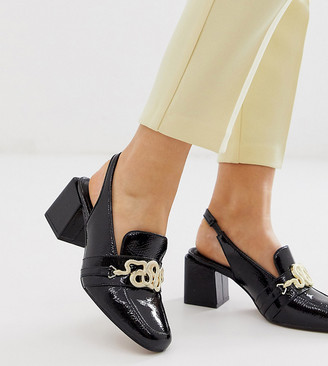 ASOS DESIGN Wide Fit Worship square toe heeled loafers in black patent