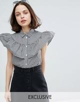 Monki Gingham Tiered Ruffle Shirt