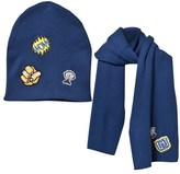 Little Marc Jacobs Blue Patch Knitted Scarf and Hat Set