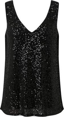 Wallis Black Metallic Sequin Camisole Top