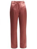 Sies Marjan Tatum Satin Trousers - Womens - Dark Pink