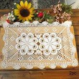 kilofly Crochet Cotton Lace Table Placemats Doilies Set, 2pc, Oblong, White, 15 x 23 inch