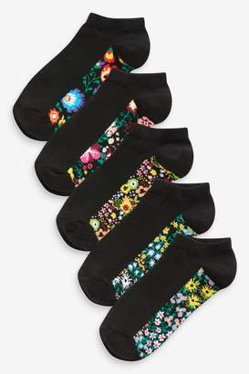 Next Womens Floral Dogtooth Footbed Trainer Socks Five Pack - Black