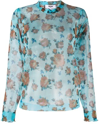 MSGM Transparent Floral Jumper