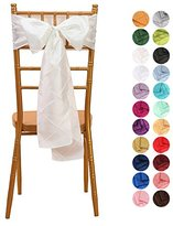 VEEYOO 6x108 inch Pintuck Taffeta Chair Sashes Ribbon Bows Cover for Wedding Party Decoration Ivory