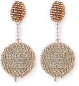 Oscar de la Renta Beaded Ball Drop Clip-On Earrings