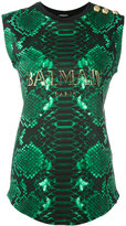Balmain printed logo tank top - women - Cotton - 36