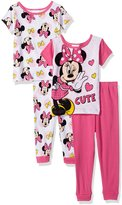 Disney Girls' Baby Minnie Mouse 4-Piece Cotton Pajama Set