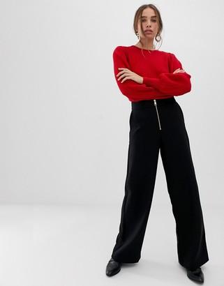 Selected high waist wide leg pants