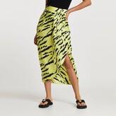 Thumbnail for your product : River Island Womens Green animal print midi skirt