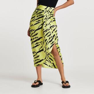 River Island Womens Green animal print midi skirt