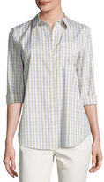 Lafayette 148 New York Wisteria 3/4-Sleeve Button-Front Check Top, Multi