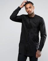 Asos Regular Fit Super Longline Shirt Black With Pleat Collar Detail