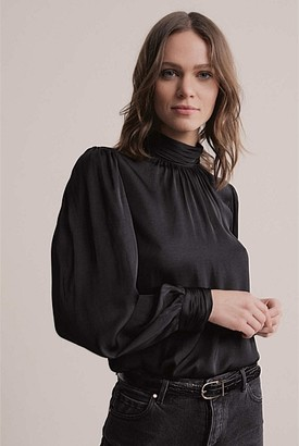 Witchery Pleat Neck Blouse